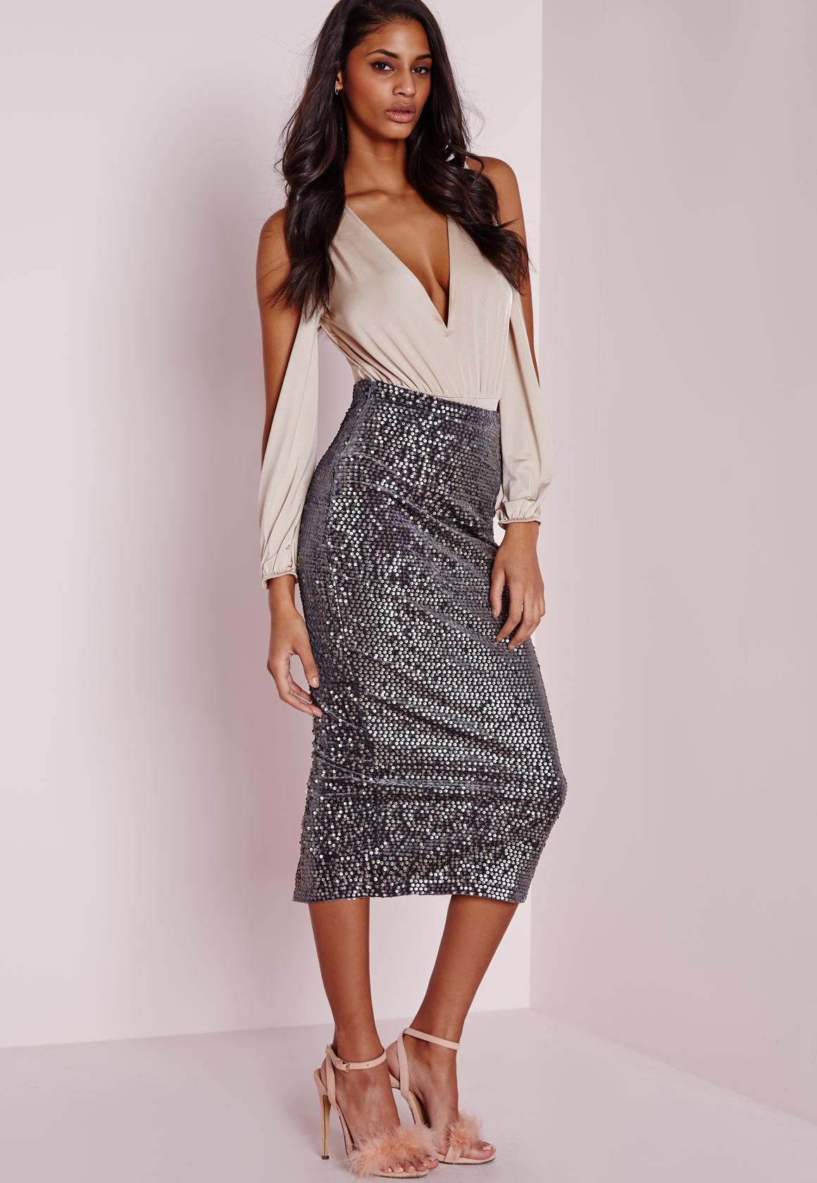 Longline Velvet Sequin Midi Skirt Grey | Missguided