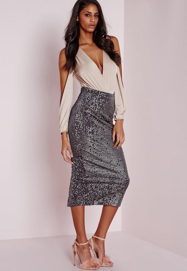 Longline Velvet Sequin Midi Skirt Grey