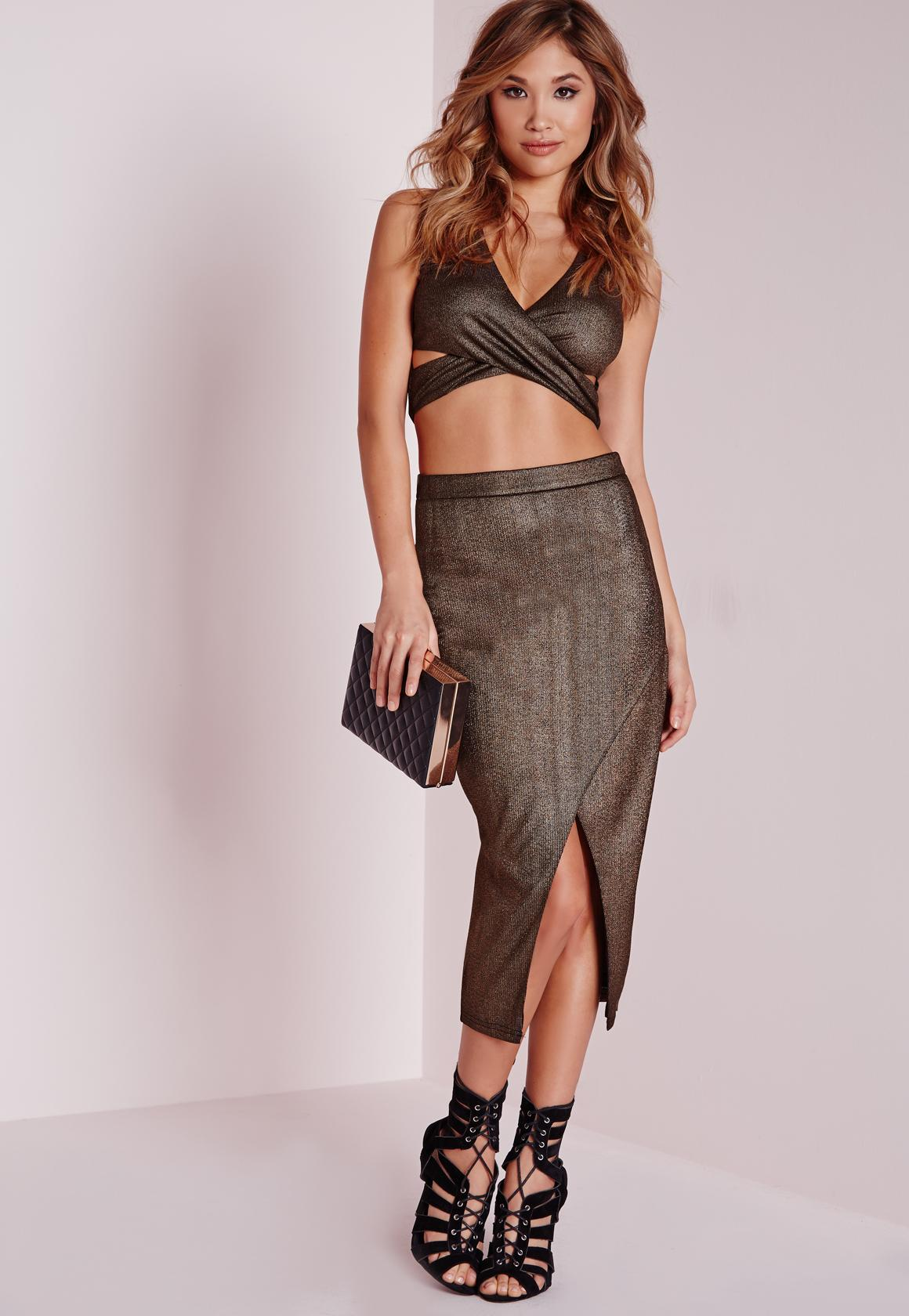 Wrap Over Metallic Midi Skirt Bronze - Skirts - Co-Ords - Missguided