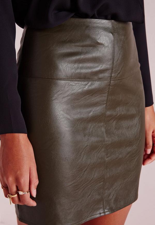 Faux Leather Mini Skirt Khaki | Missguided