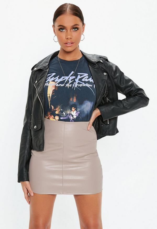 Faux Leather Mini Skirt Grey