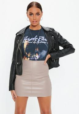 Grey Faux Leather Mini Skirt