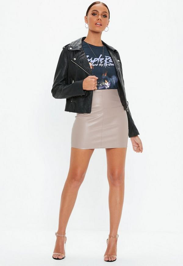 Faux Leather Mini Skirt Grey - Mini - Skirts - Missguided