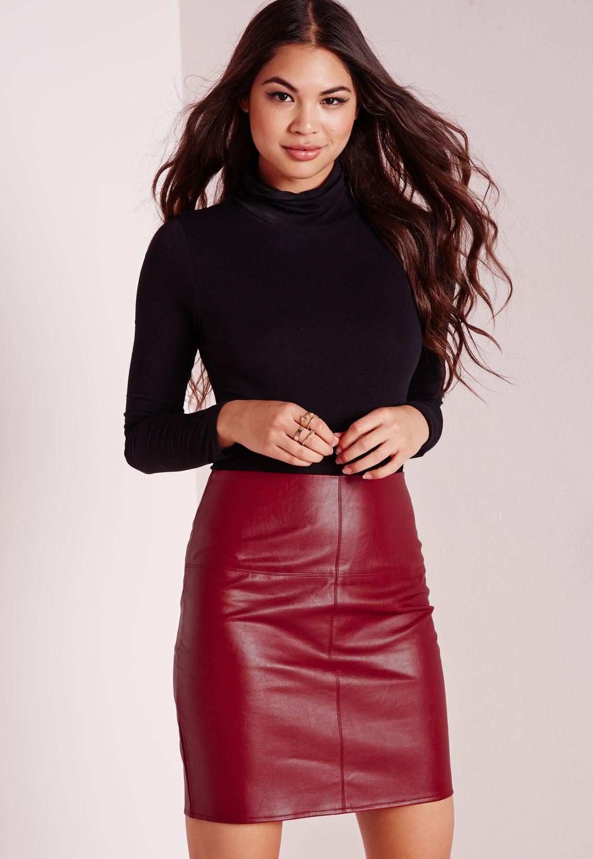 Faux Leather Mini Skirt Burgundy | Missguided