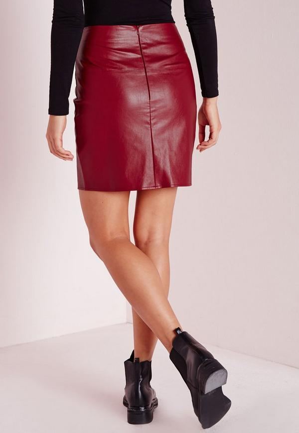 faux leather mini skirt burgundy missguided