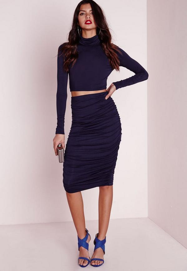Ruched Seam Midi Skirt Navy