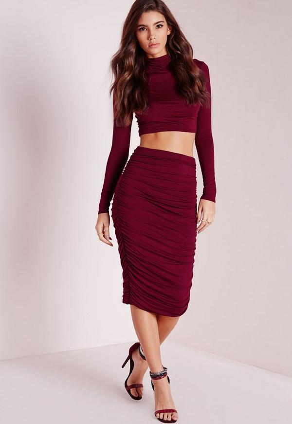 Ruched Seam Midi Skirt Burgundy | Missguided