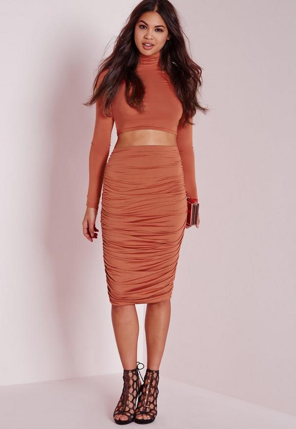 Ruched Seam Midi Skirt Rust