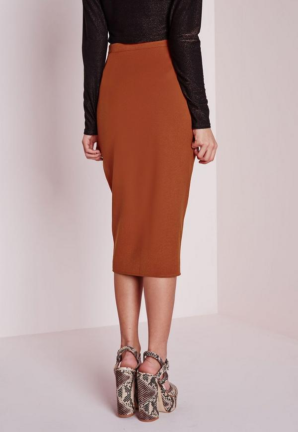 Utility Pocket Detail Midi Skirt Rust | Missguided Australia