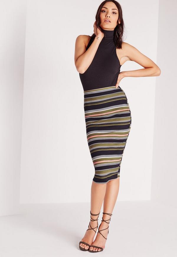 Stripe Midi Skirt Khaki