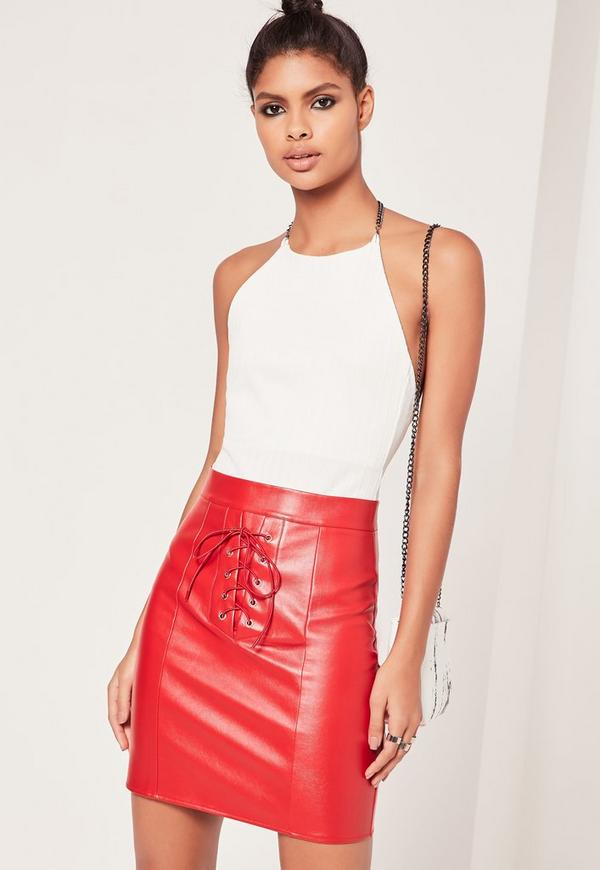 Eyelet Lace Up Mini Skirt Red