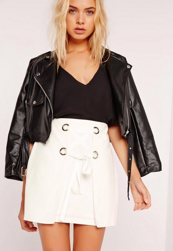 Lace Up Eyelet Mini Skirt White