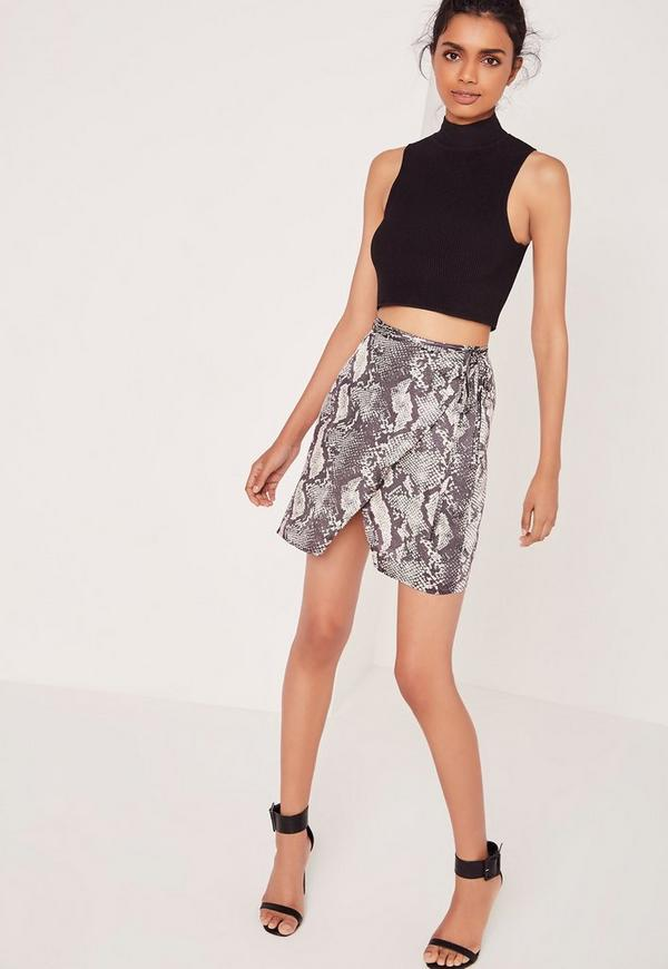 Snake Print Wrap Mini Skirt