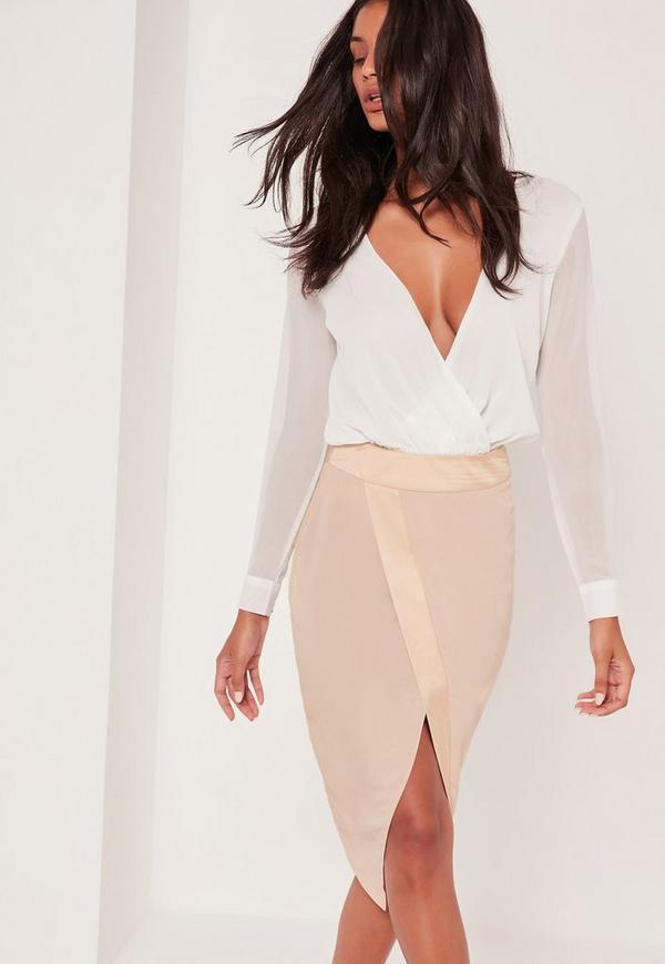 Asymmetric Satin Panel Skirt Pink