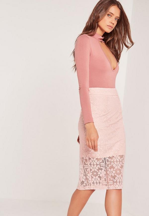 Lace Midi Skirt Pink