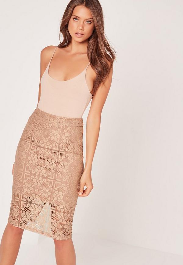 Lace Midi Skirt Tan