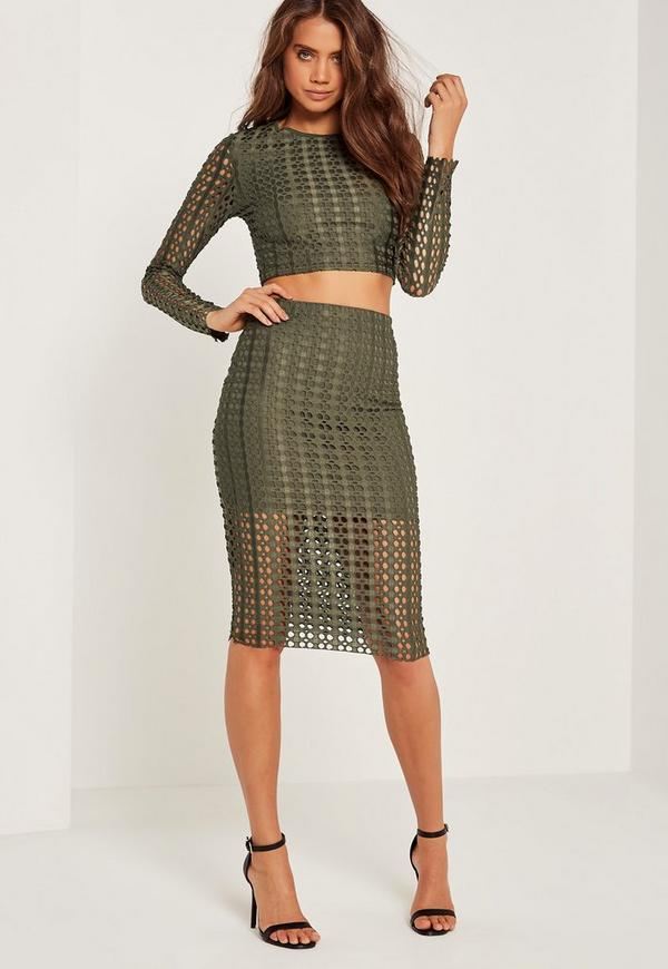 Laser Cut Midi Skirt Khaki