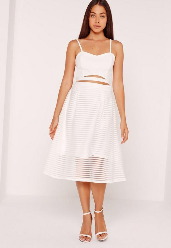 Sheer Stripe Full Midi Skirt White