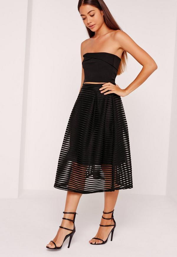 Sheer Stripe Full Midi Skirt Black