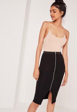 Zip Front Midi Skirt With Elastic Waist Black