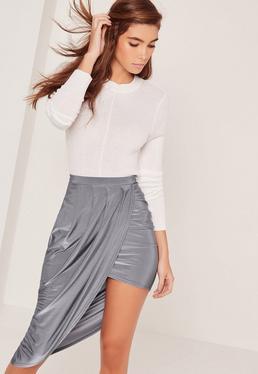 Slinky Asymmetric Midi Skirt Blue