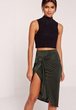 Ring Front Aysmmetric Skirt Khaki