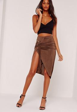 Ring Front Aysmmetric Skirt Brown