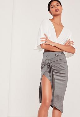 Ring Front Aysmmetric Skirt Grey