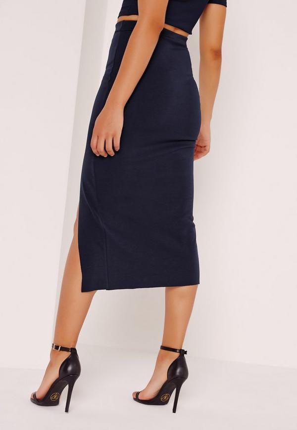 split front midi skirt navy missguided