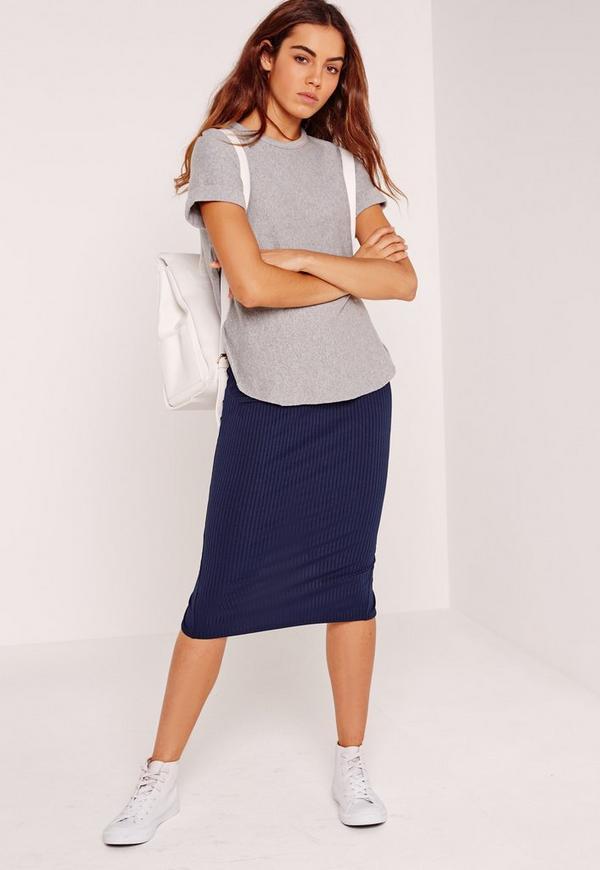 Ribbed Midi Skirt Navy