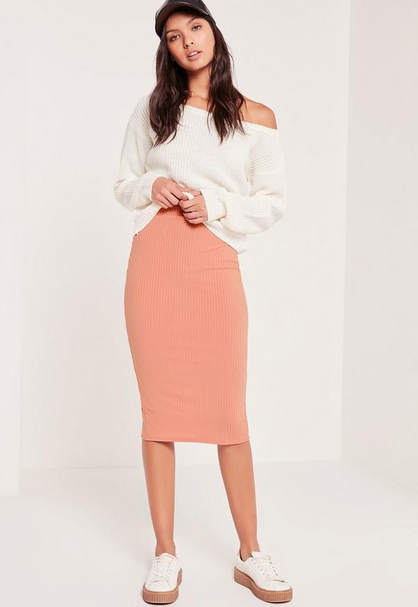 Ribbed Midi Skirt Pink