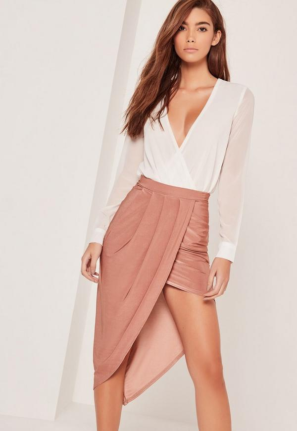 Slinky Asymmetric Midi Skirt Pink