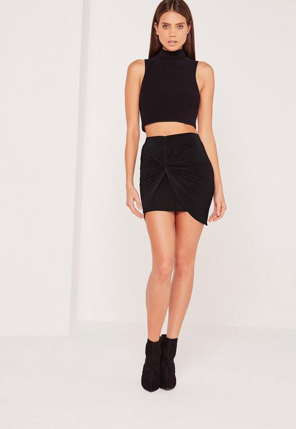 Slinky Knot Front Mini Skirt Black