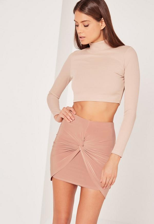 Slinky Knot Front Mini Skirt Nude