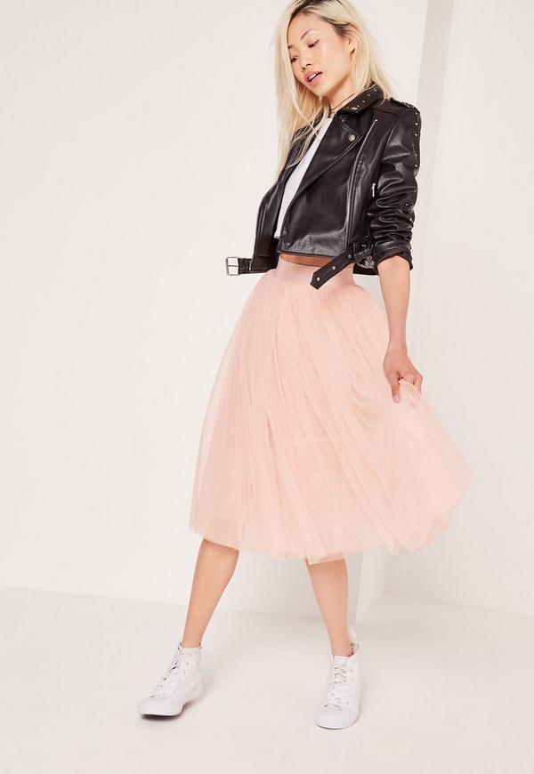 jupe midi rose taille lastique style tutu missguided. Black Bedroom Furniture Sets. Home Design Ideas