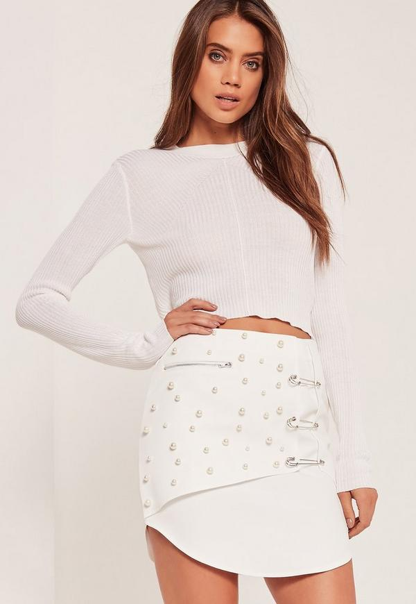 Embellished Mini Skirt White