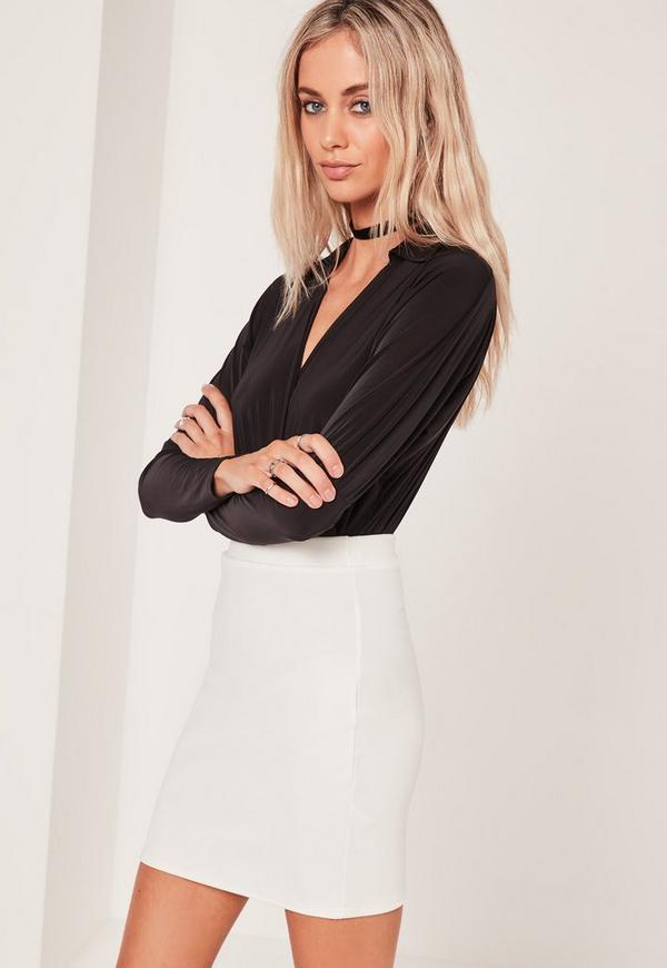 Stretch Crepe Mini Skirt White