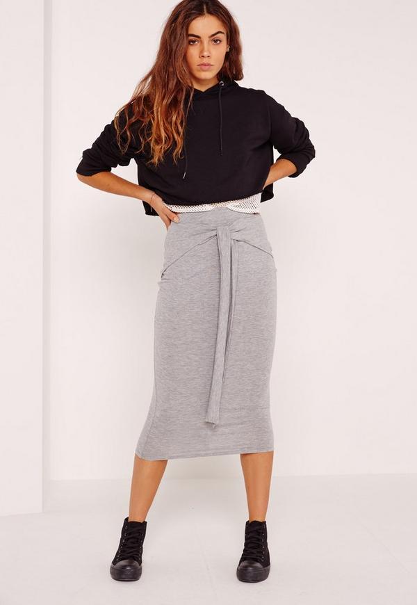 Tie Front Midi Skirt Grey