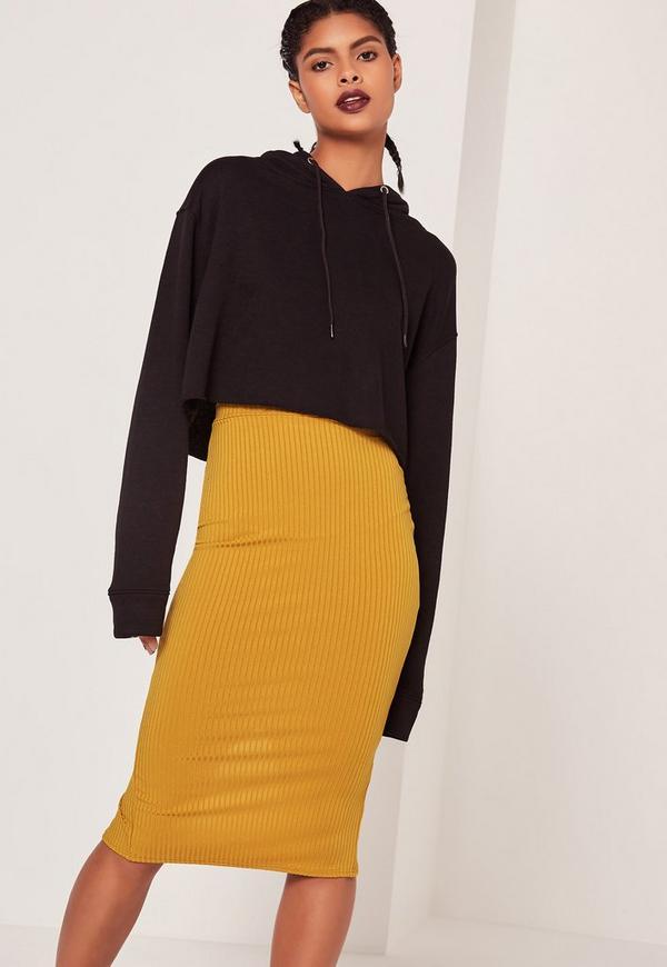 Wide Rib Midi Skirt Tan | Missguided