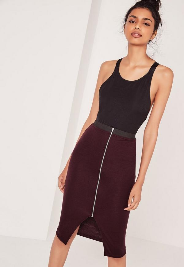 Zip Front Midi Skirt With Elastic Waist Burgundy