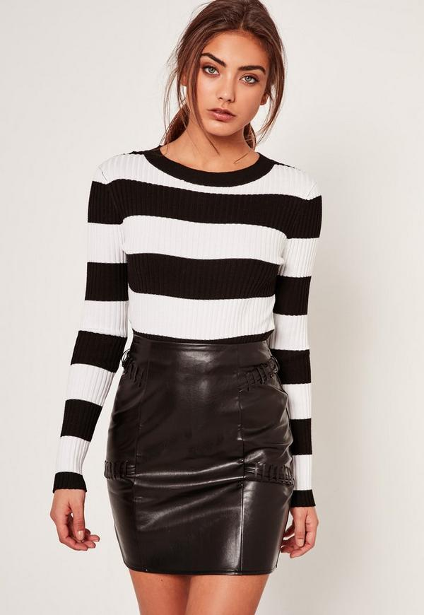 Black Whipstitch Panelled Faux Leather Mini Skirt