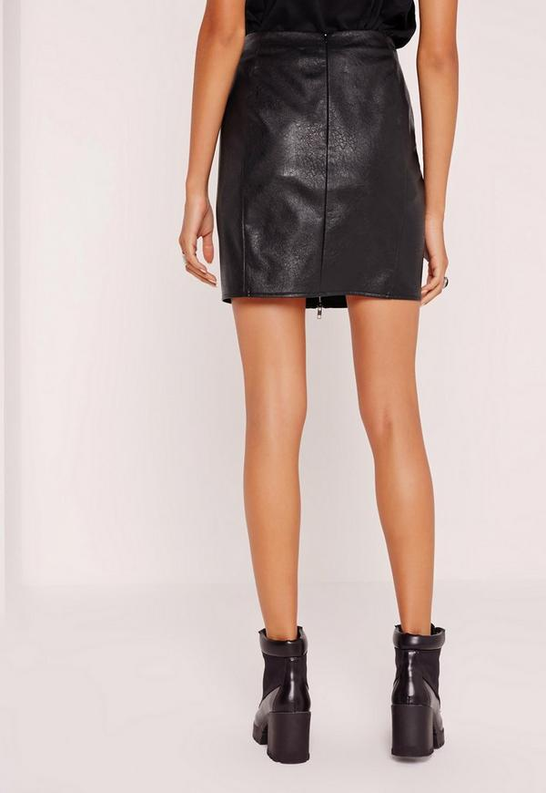 Buckle Front A-Line Faux Leather Mini Skirt Black | Missguided