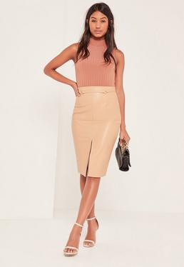 Nude Harness Detail Faux Leather Midi Skirt