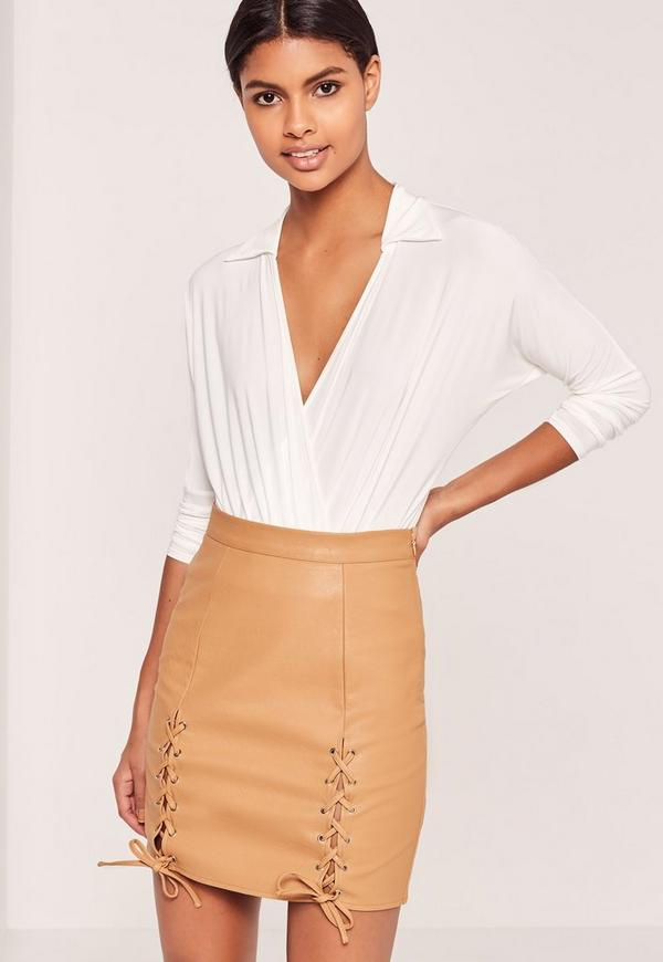Eyelet Lace Up Faux Leather Mini Skirt Tan