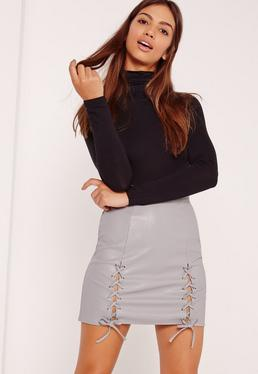 Eyelet Lace Up Faux Leather Mini Skirt Grey
