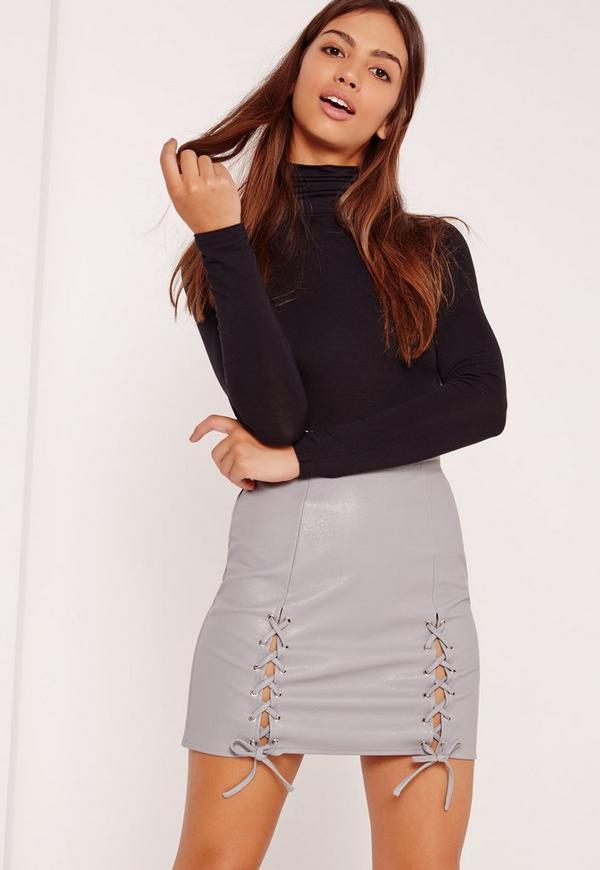 Eyelet Lace Up Faux Leather Mini Skirt Grey