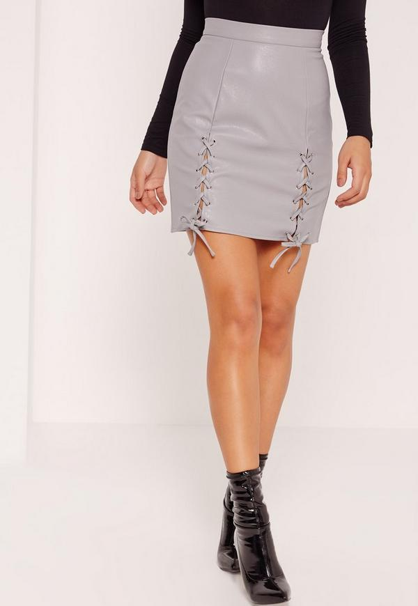 Eyelet Lace Up Faux Leather Mini Skirt Grey Missguided