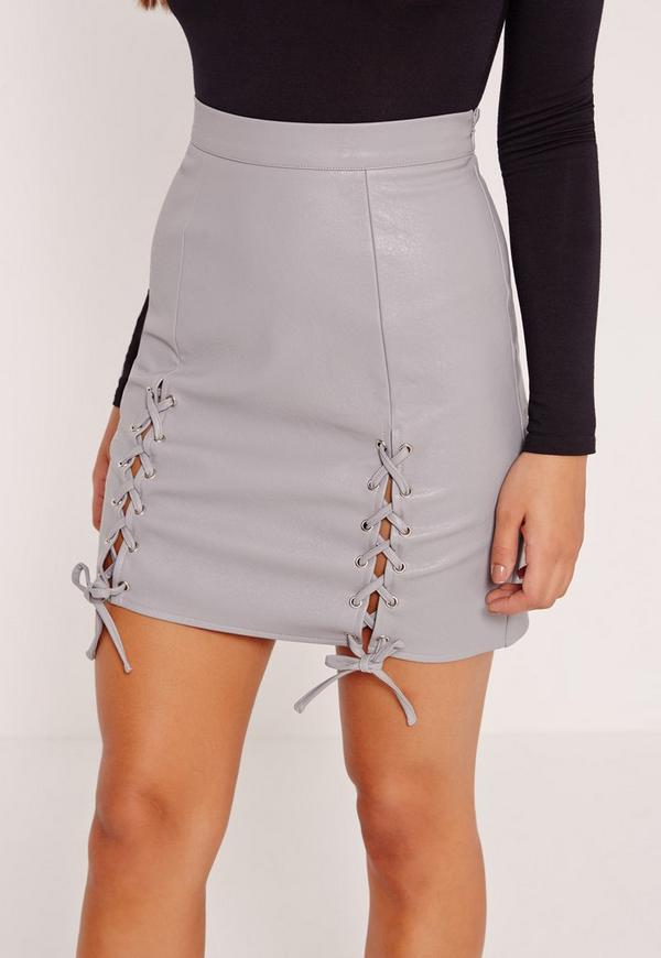 Eyelet Lace Up Faux Leather Mini Skirt Grey | Missguided
