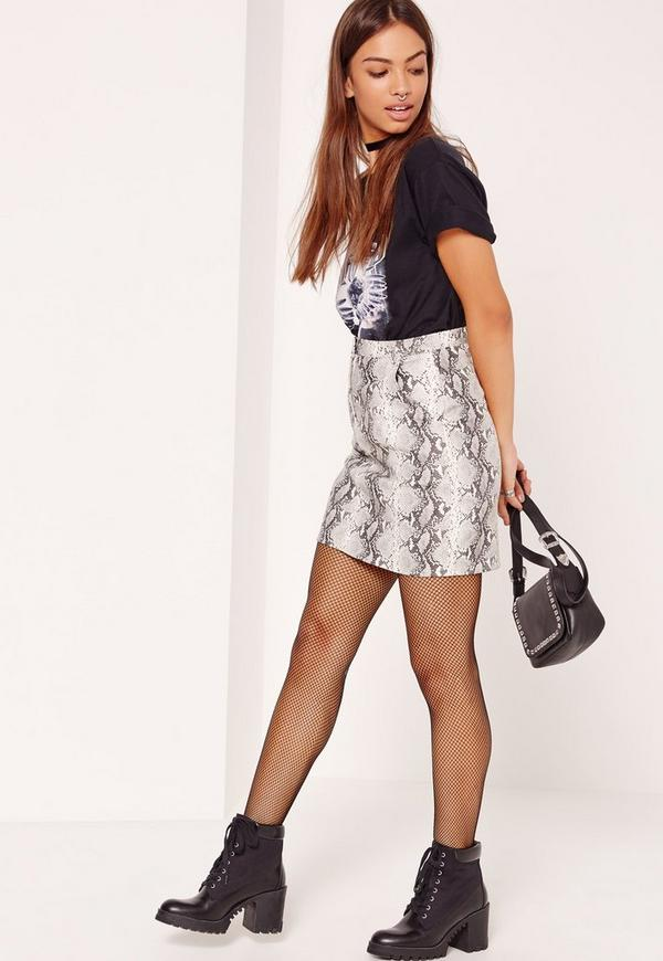 snake faux leather pocket detail mini skirt grey missguided