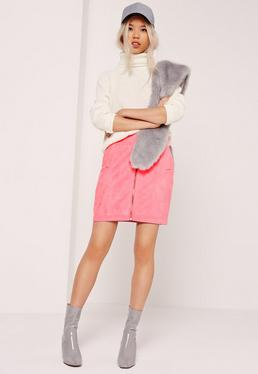 Faux Suede Zip Through Mini Skirt Pink